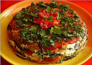 Салат-тортик из баклажанов