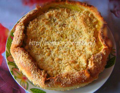 Яблочный пирог с творогом фото