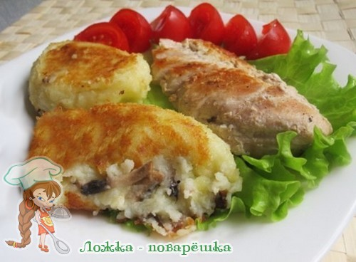 Картофельные зразы с грибами и сыром