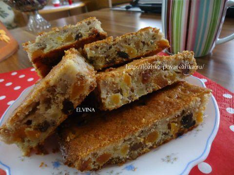Пирог «Мазурка с орехами и фруктами»