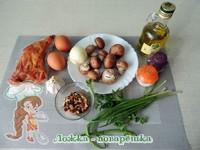 Ингредиенты для слоеного салата с копченой курицей