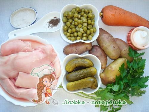Ингредиенты для салата лососевых рыб