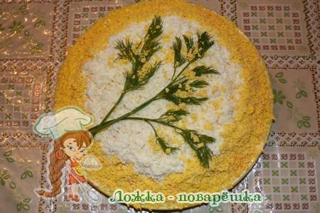 Салат мимоза с сыром и сайрой