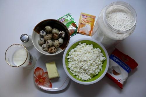 Ингредиенты для пирожков с творогом
