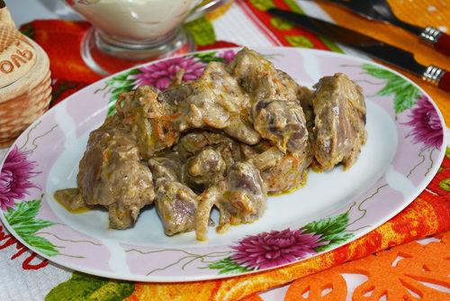 Куриные сердечки и печень в сметане рецепт